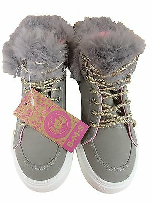 Girls Hi Top Trainer Grey Fur Buckle My Shoe Lace Up Shoes
