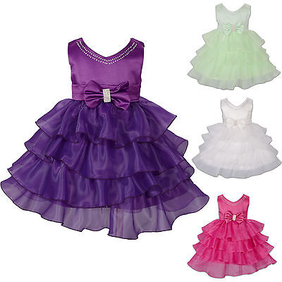 New Girls Party Flower Girl Dress Ivory Purple Pink Green in 6 9 12 18 24 Months