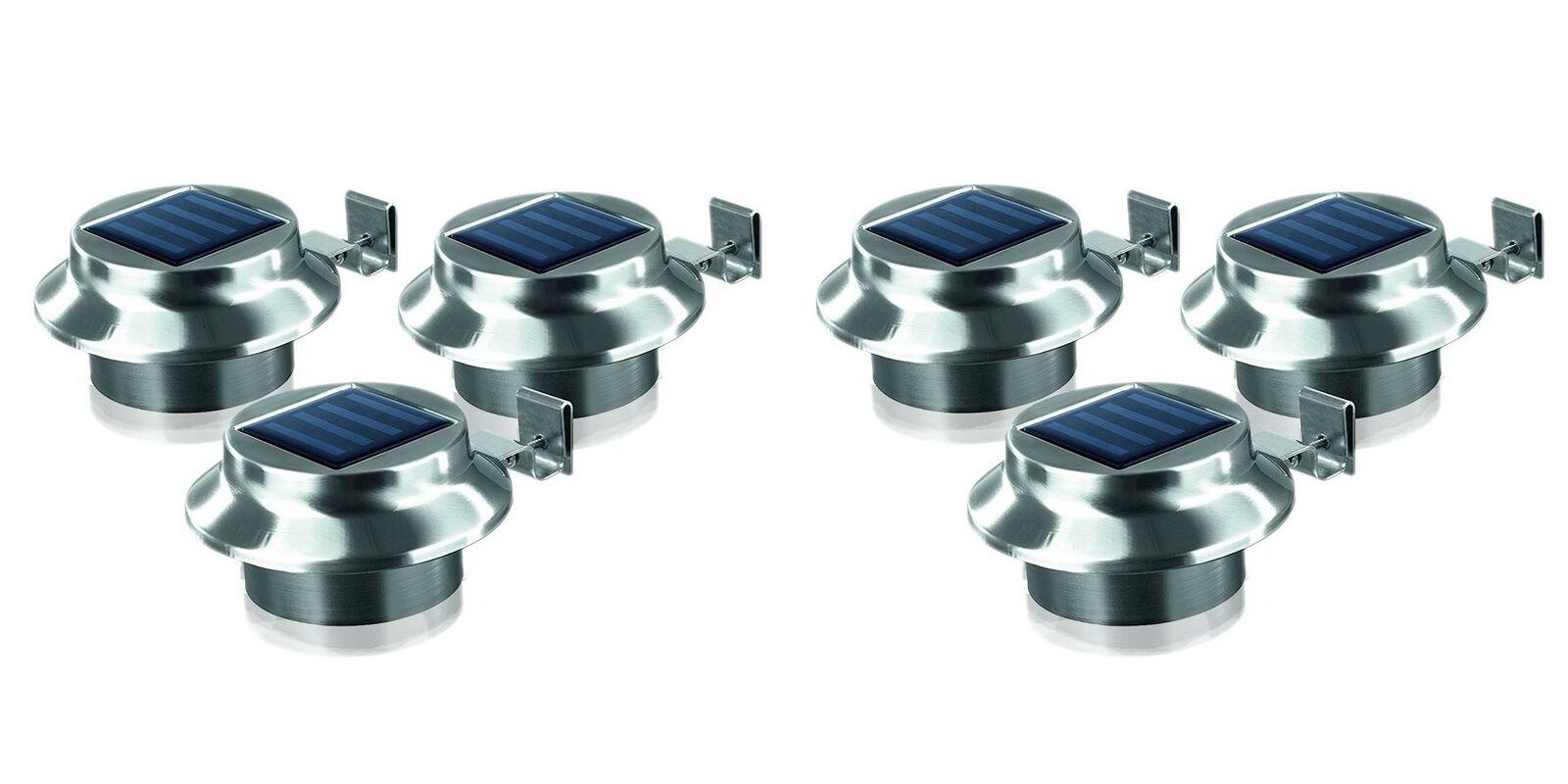 LED dachrinnenleuchten 6er-set de acero inoxidable luz valla caminos luz luces solares
