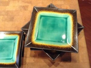 Image is loading Better-Homes-And-Gardens-Turquoise-And-Brown-Square- & Better Homes And Gardens Turquoise And Brown Square Plates | eBay