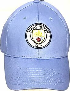 Manchester City Cap Official Sky Blue Peak Hat Football Club Gifts ... 833d6f9aaed