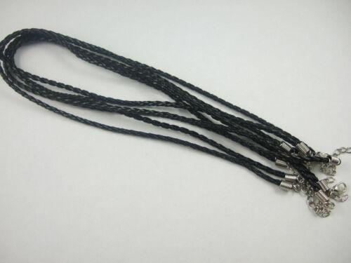 """20pcs Noir PU cuir réglable tressé collier cordon Finding 26/"""""""