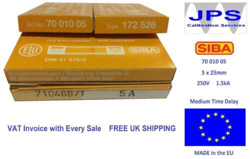 SIBA Fuse 70 010 05 Medium Time Lag Ceramic 5 x 25 mm Pick Your Rating