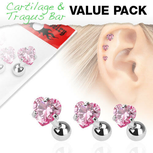 316L Surgical Steel Tragus/Cartilage Stud With Pink Gem Heart Top 3 Piece Pack