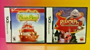 Rudolph-Noah-039-s-Ark-Nintendo-DS-Lite-3DS-2DS-2-Game-Christmas-Holiday-Lot