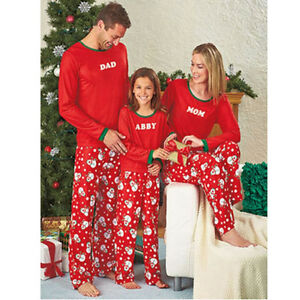 Christmas Kids Parent-child Family Snowman Home Sleepwear Nightwears Pajamas Set