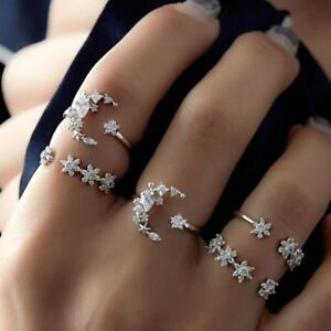 5PCS/Set Women Moon Star Crystal Stack Knuckle Finger Tip Band Rings Set Jewelry