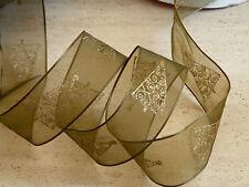 1 metre Christmas Sheer Ribbon Gold Trees Cakes, Bows, Wreaths