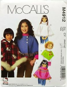 Girls-Poncho-Sewing-Pattern-M4912-Size-Large-McCalls-5-Styles