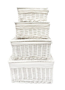 Image Is Loading White Lidded Children Kids Baby Nursery Wicker Storage