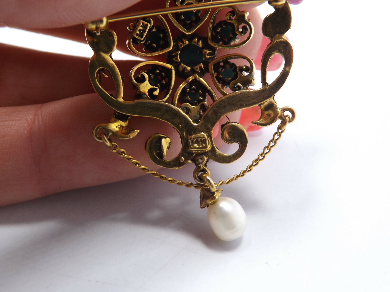 Vintage 14k Gold Persian Turquoise Seed Pearl Orn… - image 6