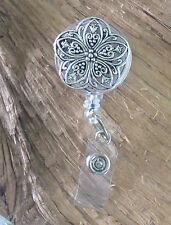 Silver Filigree Flower .. RETRACTABLE ID Badge Holder Reel