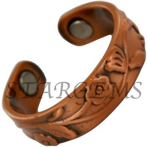 PURE-COPPER-RING-MAGNETIC-THERAPY-MENS-WOMENS-ARTHRITIS-PAIN-RELIEF-ADJUSTABLE