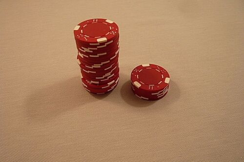 25 CASINO STYLE CHIPSRed & WhiteUnmarkedAbout 1 12""