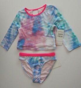 f5925d1b37a6e Zella 12 Girls 2 Pc Crop Rash Guard Tankini Swimsuit Set Long Sleeve ...