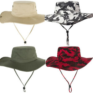 0fc12f9b207 Image is loading Men-Camouflage-Wide-Brim-Bucket-Fishing-Cap-Casual-