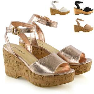 8cff2c1146cf Womens Ankle Strap Wedge Heel Platform Sandals Ladies Peeptoe Shoes ...