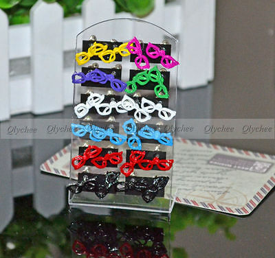 HOT 1 pair Fashion Cute Sweet Glass Glasses Shape Ear Stud Earrings Wholesale