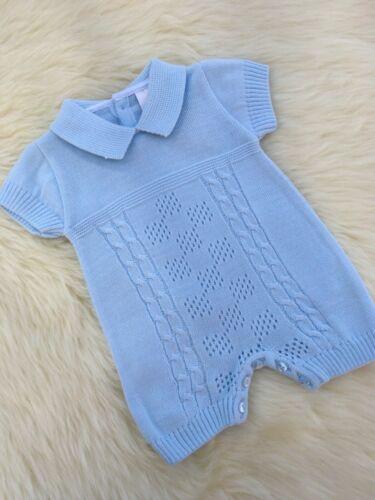 Espagnol Style Bébé Garçon Câble Tricoté Bleu Ange 3,6,12,18 M