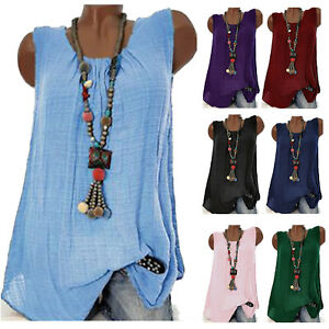 AU-Womens-Summer-Sleeveless-Blouse-Shirt-Ladies-Casual-Vest-Tank-Tops-Plus-Size