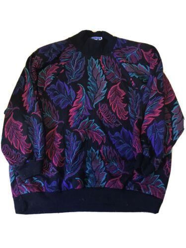 VINTAGE 80s Colorful Leaf Motif Sweater (M/L)