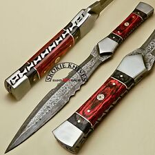 CUSTOM HAND MADE DAMASCUS STEEL FORGED HUNTING DAGGER KNIFE HANDLE COLOR WOOD