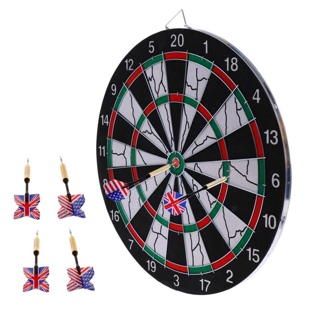 Durable 15  Two Side Printing Dart Board Dartboard + 6 Darts for Darts Game