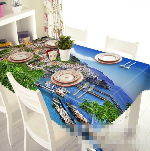 3D City Sea 55 Tablecloth Table Cover Cloth Birthday Party Event AJ WALLPAPER AU