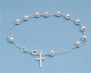 Silver Rosary Bracelet Sterling Silver 925 With Cross Link Chain 5mm