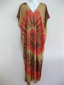 81b21dbf591e5 New Plus Size Women Tie Dye Maxi Dress Kimono V Neck Sundress ...