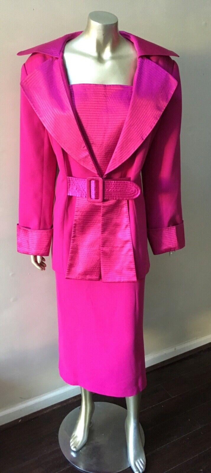 Zwei 2 Teile Krepp Formelle Fuchsia Rosa Lang Hochzeit Partyrock Suit Plus Sz 16