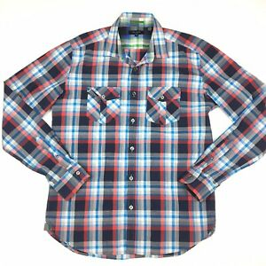 Ted-Baker-London-Men-s-Red-And-Blue-Check-Long-Sleeve-Shirt-Size-4-Made-Portugal