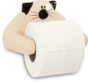 2Kewt-Ceramic-Cat-Feline-Toilet-Paper-Holder-Bathroom-Accessory-New