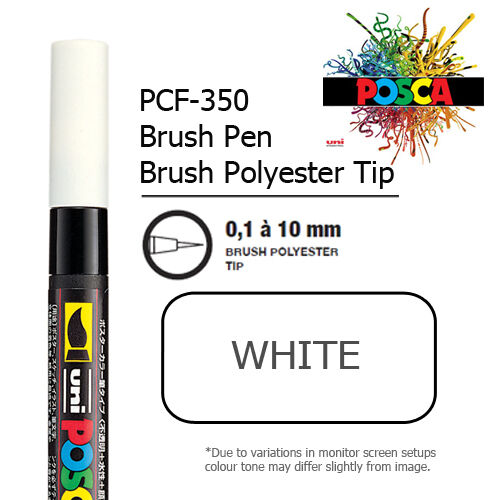 10mm brush Tip UNI POSCA PCF-350M BRUSH PENS DIFFERENT  COLOURS  0.1mm