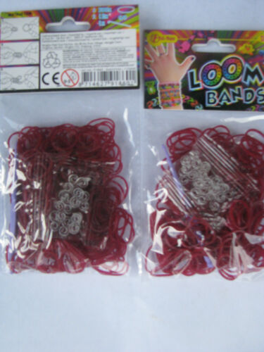 LOOM Bands Looms Loombands rot Ton 600 Stück , 24 S-Clips 2Haken