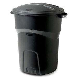 Rubbermaid Round Trash Can W Lid Outdoor Garbage Bin Storage Container