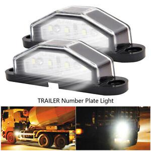 2-4-DEL-License-Number-Plate-Light-tail-Feu-Arriere-Voiture-Camion-Remorque-Camion-Van-An