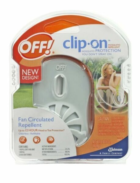 CLIP ON MOSQUITO REPELLENT 12 hours FAN UNIT REFILL 3 Pkgs  OFF AAA BATTERY