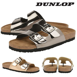 Dunlop-Ladies-Womens-Slip-On-Sandals-Double-Twin-Buckle-Strap-Shoes-Sizes-3-8