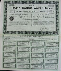 African-1895-South-Witwatersrand-1-Marie-Louise-Gold-Mines-Bond-5-Shares-Coups
