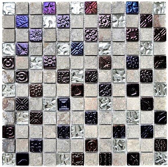 Glas- Natursteinmosaik mix Design Quarzit grau Küche Wand Art 83-CR37   10Matten