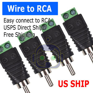 4-pcs-Speaker-Wire-cable-to-Audio-Male-RCA-Connector-Adapter-Jack-Plug-Bose-M247