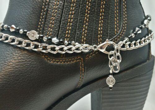Boot Bling Bracelet Butterfly Charm Black Silver Chain Adjustable Handmade Biker