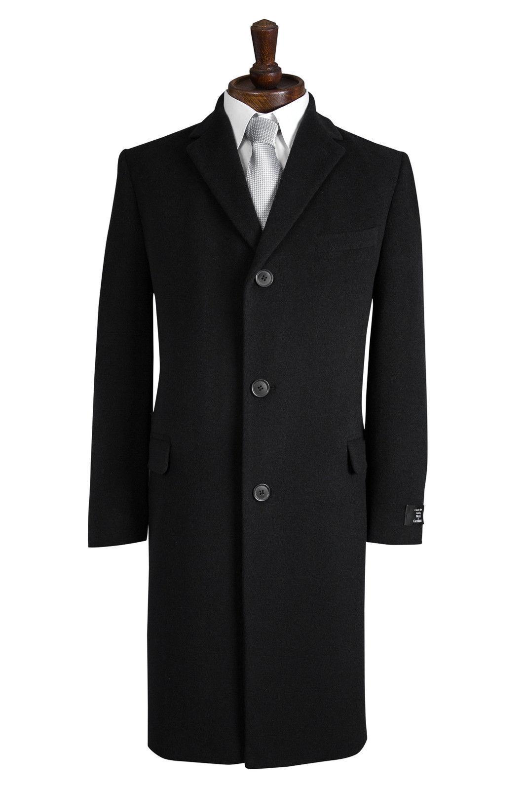 Herren Schwarz Wolle Mantel Schaukeln Türsteher Winter Cromby Style