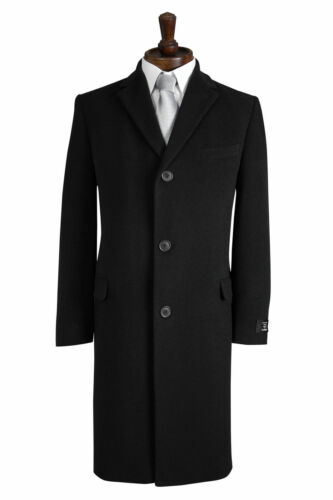 NEW MENS CLASSIC BLACK WOOL BLEND OVERCOAT WINTER CROMBY STYLE COAT COATS