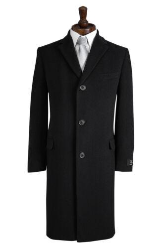 NEW MENS CLASSIC BLACK WOOL BLEND OVERCOAT WINTER CROMBY STYLE COAT COATS