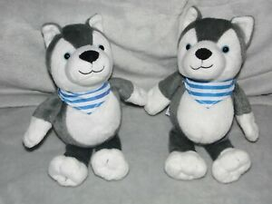 KINDER-HUSKY-SOFT-TOY-GREY-COMFORTER-DOUDOU-X-2-TWO