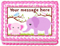 Pink Baby Elephant And Mommy Image Edible Cake Topper Decoration