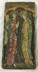 PANNEAU MURAL Religieux Bois Polychrome dore peint Vierge ange XIXe christ S