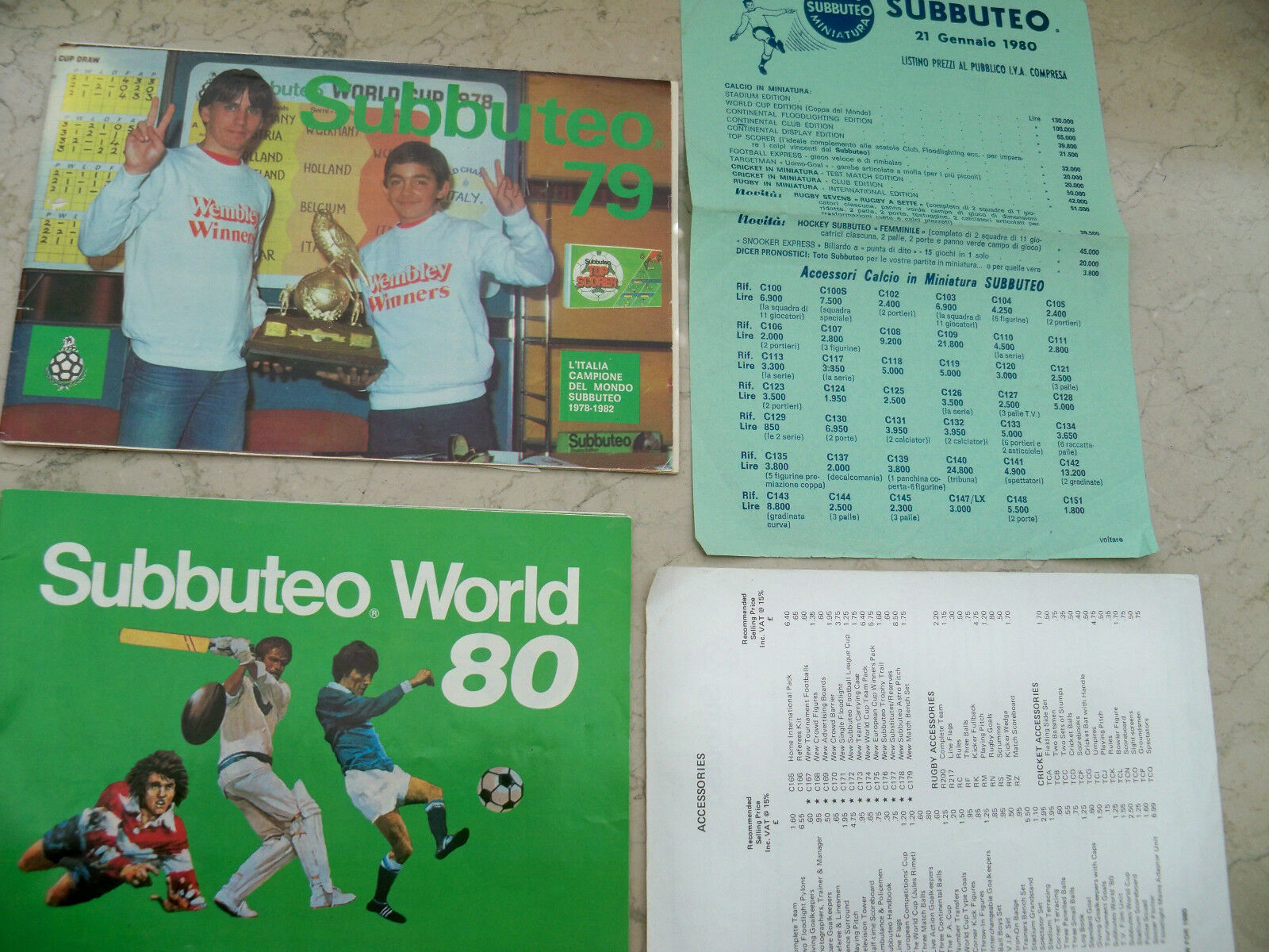 SUBBUTEO CATALOGUES  1979 - 1980 LOT OF 4 RARE PIECES - GREAT CONDITIONS